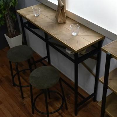 カウンターテーブル 組木 古材風 KALEIDO 幅110cm ( 送料無料 テーブル 机 デスク ハイタイプ 収納付き 棚付き バーテーブル カフェテー