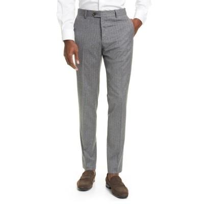イレブンティ メンズ カジュアルパンツ ボトムス Flat Front Stripe Wool & Cotton Dress Pants 14 MEDIUM GREY MELAN