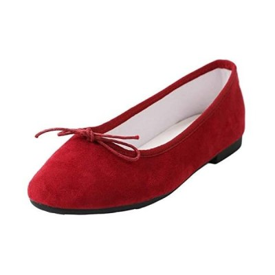 [メールコション] フラット スウェード カジュアル ぺたんこ 靴 婦人靴 柔らかい 歩きやすい フェミニン (レッド 23.5 cm)