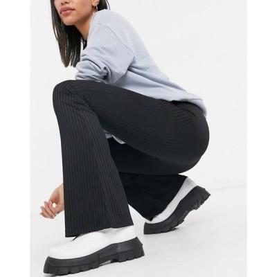 トップショップ レディース カジュアルパンツ ボトムス Topshop skinny rib flare pants set in black