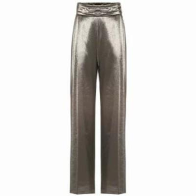 マックスマーラ その他ボトムス・パンツ Albina stretch silk high-rise pants gold