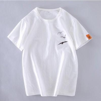 夏 メンズTシャツ   綿麻 メンズシャツ トレーナー カットソー半袖  涼しい  通気 吸汗 丸首 カジュアル おしゃれ