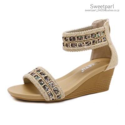 サンダル レディース アンクル ストラップ 厚底サンダル 歩きやすい 靴 ウェッジソール 低反発インソール ビジュー付き ケーブル編み