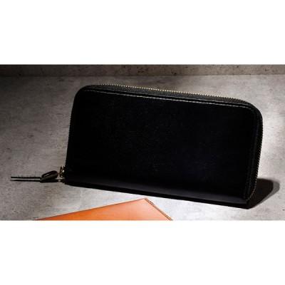 手塗りオイルレザー ラウンド長財布 ブラック TA45-01 財布・小物