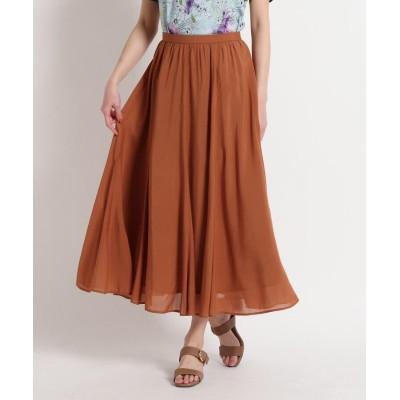 SunaUna(スーナウーナ) 【洗える】シルキーローン フレアロングスカート