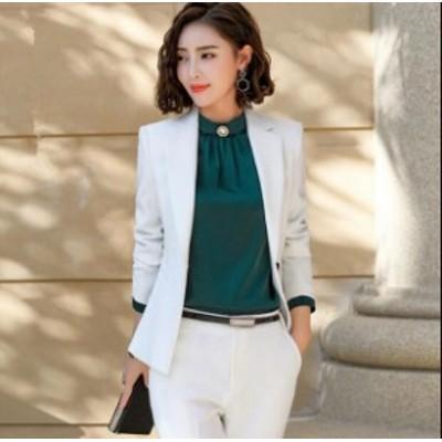 スーツ パンツスーツ セレモニー スーツジャケット ビジネス 面接 フォーマル 大きいサイズ セットアップ 上下セット オフィス 体型カバ