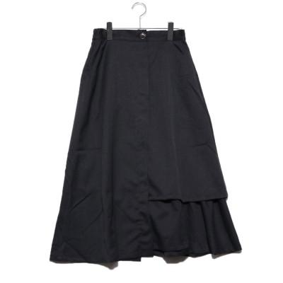 スタイルブロック STYLEBLOCK ツイルラッフルフレアスカート (ブラック)