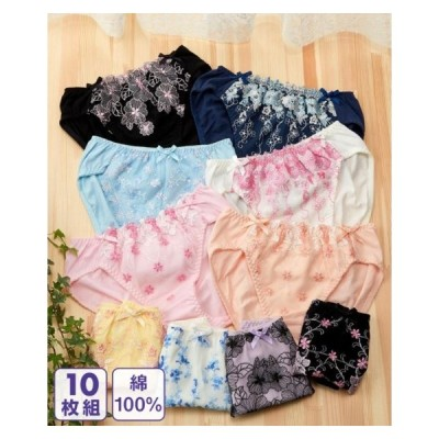 (S-L) 綿100% デザイン レギュラー ショーツ 10枚組 まとめ買い ニッセン パンツ 福袋 安い ひびきにくい セット コットン