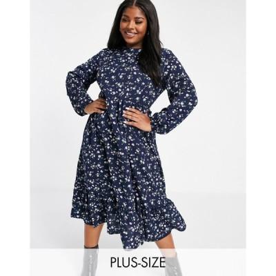 ミスガイデッド ドレス 大きいサイズ レディース Missguided Plus smock dress with ruffle hem in ditsy floral エイソス ASOS マルチカラー