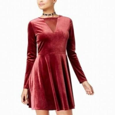 hart ハート ファッション ドレス One Hart NEW Red Size Large L Junior Velvet Mesh-Inset A-Line Dress