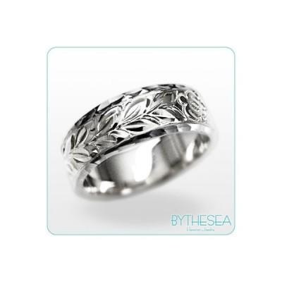 ハワイアンジュエリー 結婚指輪 リング 刻印無料 誕生石 名入れ マリッジリング 14K ホワイトゴールド オーダーメイド WF6B-C /送料無料