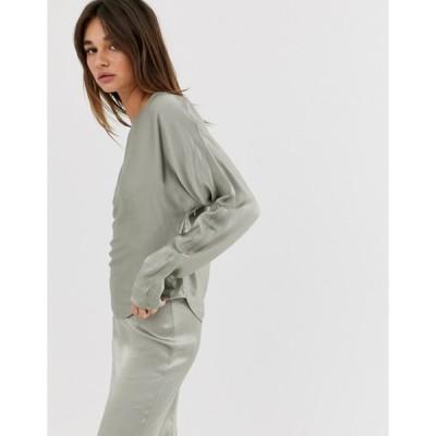 ウィークデイ レディース シャツ トップス Weekday limited edition long sleeve top with satin in olive green