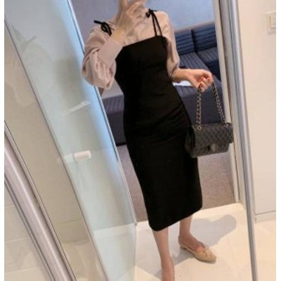 ジャンパースカート ロング リボン タイト 大人可愛い フェミニン 韓国 オルチャン ファッション