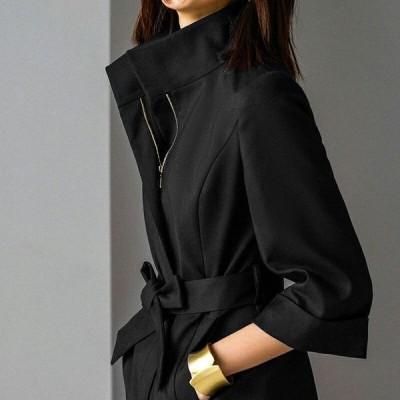 コート ステンカラー スタンドカラー 七分袖 ロング丈 aライン 2way アウター ベルト付き
