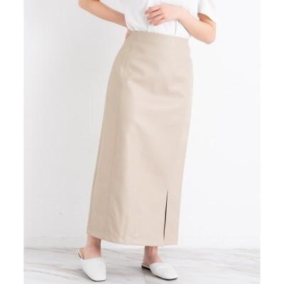 スカート VANNIE U レザースリットスカート