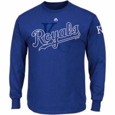 Majestic マジェスティック スポーツ用品  Majestic Kansas City Royals Royal Big & Tall Two Hit Long Sleeve T-Shirt