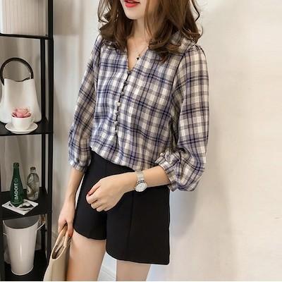 2021年夏の韓国ルーズレトロスタイルシャツレディースランタンスリーブチェック柄七分袖Vネックシャツ