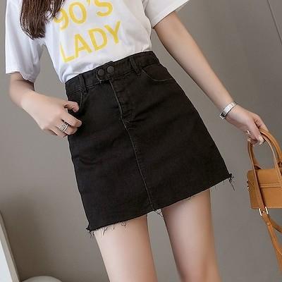デニムスカート女子夏学生新款高腰黒ストレッチヒップスカート