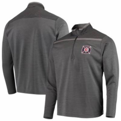 Antigua アンティグア スポーツ用品  Antigua Chicago Fire Charcoal/Black Cryptic Quarter-Zip Pullover Jacket