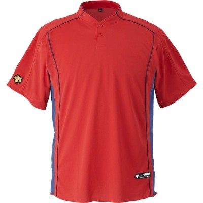 DESCENTE(デサント) DB109B サイズ:XO カラー:RED ベースボールシヤツ