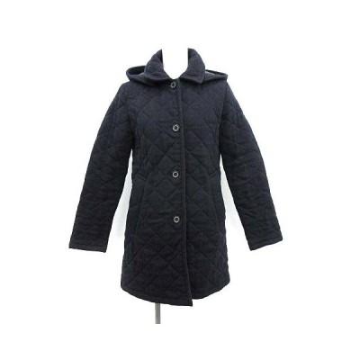 【中古】トラディショナルウェザーウェア Traditional Weatherwear キルティングコート 中綿 アウター ロング フード ウール 34 S ネイビー 【ベクトル 古着】