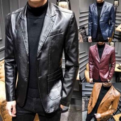 ライダースジャケット 襟返しの上着 レザージャケット メンズ 革ジャン アウター ブルゾン コート シングル  秋 冬 4色