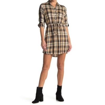 アンジー レディース ワンピース トップス Plaid Shirt Dress BROWN