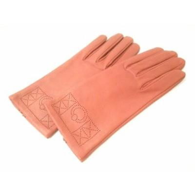 エルメス HERMES 手袋 7 1/2 レディース 美品 オレンジ サイズ:7 1/2 レザー【中古】20210207