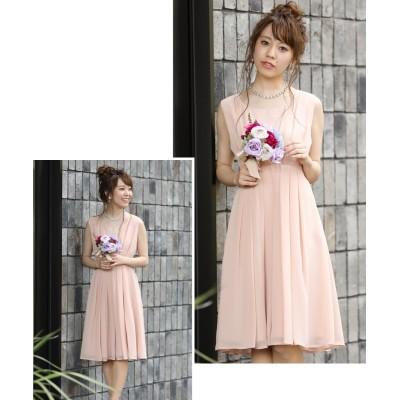 細見え効果抜群◎シンプルシフォンワンピースドレス (ワンピース)Dress
