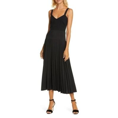 ラ リンニュ レディース ワンピース トップス Gym Pleated Wool Blend Dress BLACK