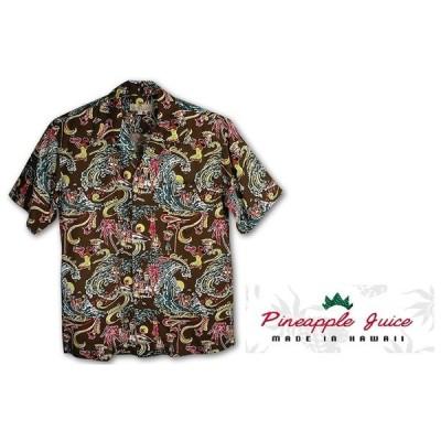あすつく商品アロハシャツmade in hawaiiパイナップルジュースPINEAPPLE JUICEハワイ製アロハランドAloha Landブラウン レーヨン100%Rayon Poplin100%