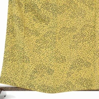 【中古】リサイクル小紋 / 正絹黄色地楓柄袷小紋着物 / レディース【裄Mサイズ】(古着 中古 小紋 リサイクル品)