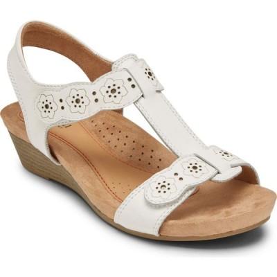 ロックポート ROCKPORT COBB HILL レディース サンダル・ミュール シューズ・靴 Hollywood T-Strap Sandal White Leather