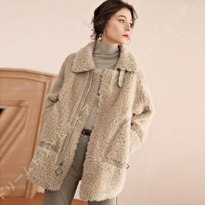 ボアコート ボア ブルゾン ジャケット コート アウター 厚手 ベルト フリースジャケット もこもこ 防寒 スタンドネック 大きいポケット 可愛い 暖か おしゃれ