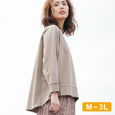 Ranan 【M~3L】サスティナブル!綿100%バックロングカットソープルオーバー グレー M レディース