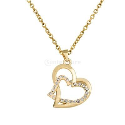 ロマンチックな 結婚式 ダブルハート クリスタルネックレス 鎖骨チェーンジュエリー 贈り物