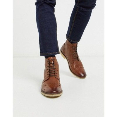 エイソス ASOS DESIGN メンズ ブーツ ブローグ シューズ・靴 brogue boots in tan leather with natural sole タン