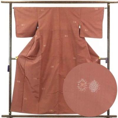 リサイクル着物 紬 正絹茶ローズ地先染袷紬着物