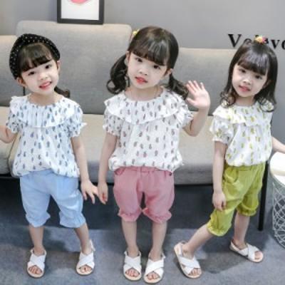 韓国子供服 セットアップ 夏  女の子  キッズ 上下セット 2点セット 半袖 Tシャツ 薄手 ハーフパンツ 可愛い 通学着 通園80-130cm