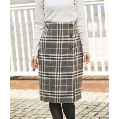 tocco closet / ボタン付きチェックラップタイトスカート WOMEN スカート > スカート