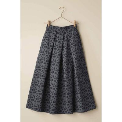 フェリシモ IEDIT[イディット] フラワープリントのタックロングスカート〈グレー〉