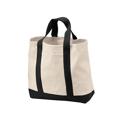 Stylish Two-Tone Reusable Grocery Shopping Tote Bags (1, BLACK)【並行輸入品】