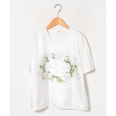 GUEST JOCONDE/ゲスト ジョコンダ ARINA フローラルプリント布帛使い ニットプルオーバー ホワイト 46
