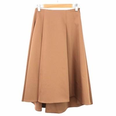 【中古】ブレンへイム 17SS スカート ロング ミモレ フレア プリーツ ヘム グログラン 無地 XS 茶 レディース