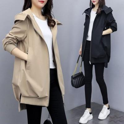 ジャケット レディース ミディアム丈 ゆったり ジップパーカー フード付き 体型カバー 軽量 暖かい アウター 秋冬 おしゃれ 大きいサイズ