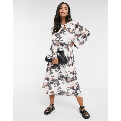 ヤス ミディドレス レディース Y.A.S. Marble printed midi dress in multi  エイソス ASOS sale