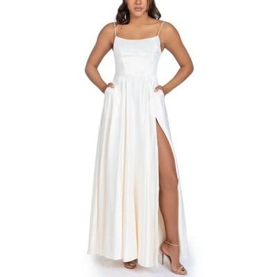 ビーダーリン レディース ワンピース トップス Lace-Up Back High Side Slit Satin Long Dress