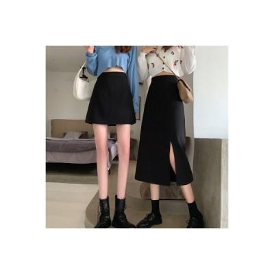 【送料無料】韓国風 ハイウエスト 着やせ スプリット スカートと長いセクション 何でも似合う 裾 短 | 346770_A64755-4898612