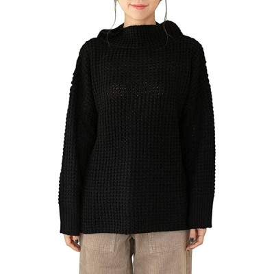 ニット ワッフル プルオーバー セーター ハイネック 黒 長袖 秋冬 M〜5L レディース BLL(ブラック, LL-3L)