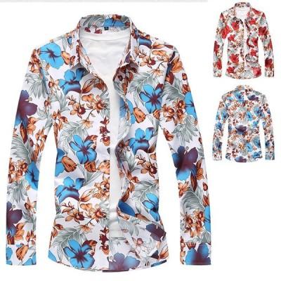 長袖シャツ メンズ 花柄 カジュアルシャツ シャツ 長袖 アロハシャツ 花柄シャツ カジュアル 開襟シャツ おしゃれ 父の日